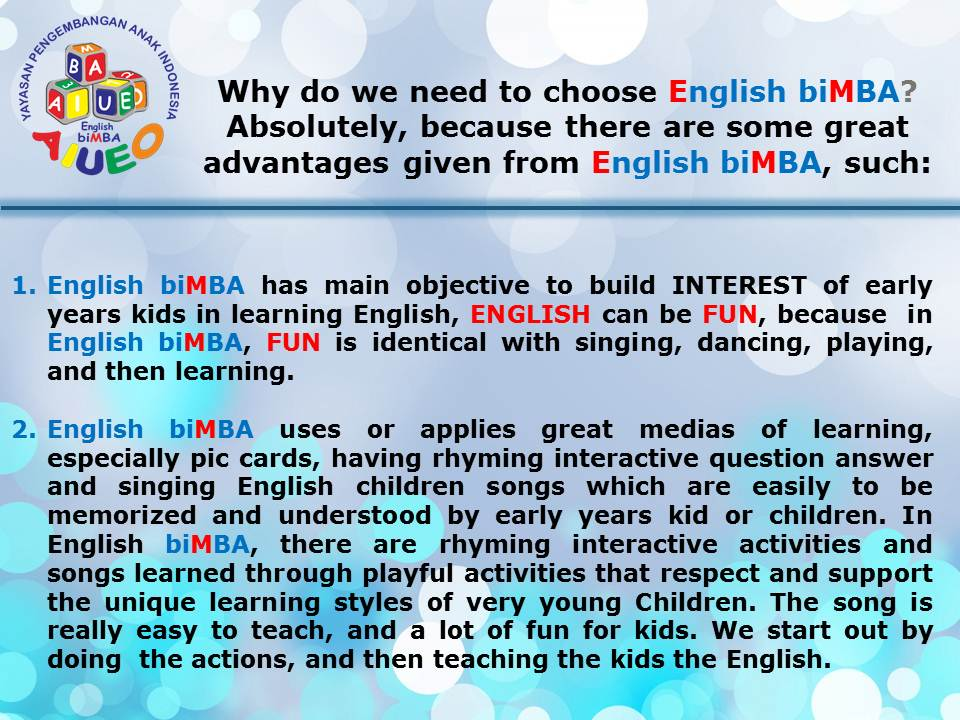 Why do we need to choose English biMBA