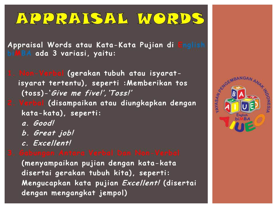 6. Appraisal Words