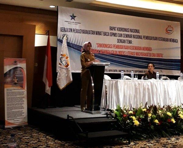 Ibu Walikota Tangerang Selatan, Ibu Hj. Airin Rachmi Diany SH memberikan sambutan saat RAKORNAS dan Seminar GPMB