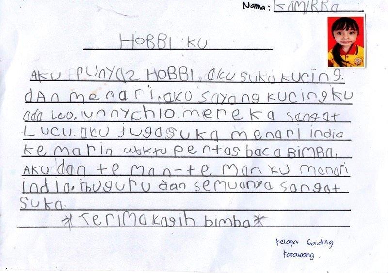 Karangan Kammira, Anak biMBA Kelapa Gading Karawang
