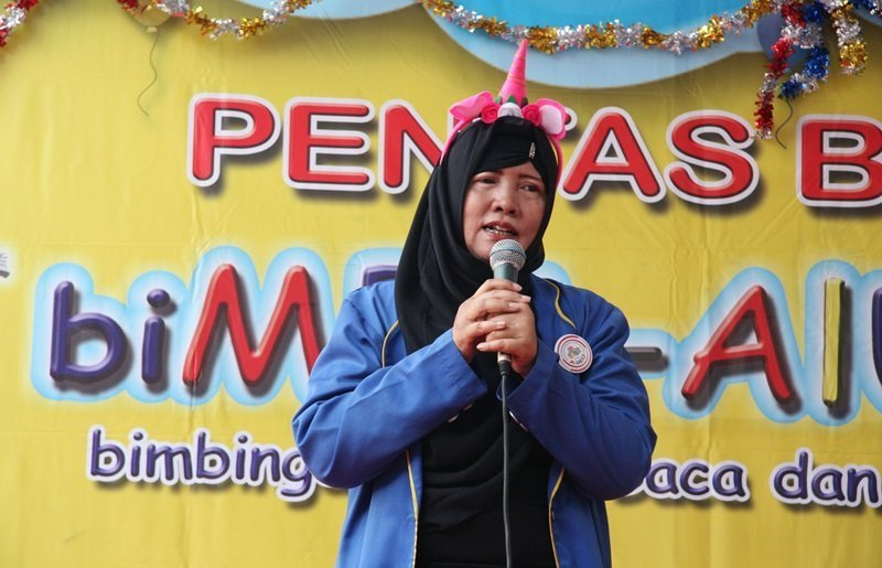 Sambutan Kepala Unit biMBA Batu Tulis Harmoni, Silvia Septiana Purba.