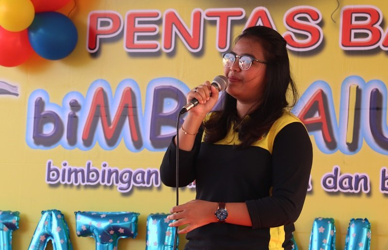 Sambutan dari perwakilan biMBA Pusat, Ainnun Fadilah.